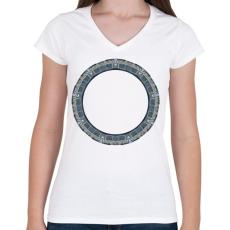 PRINTFASHION Pegazusi kapu - Női V-nyakú póló - Fehér