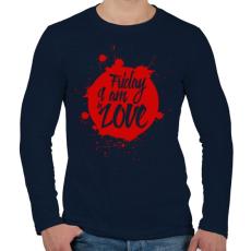 PRINTFASHION Péntek - Férfi hosszú ujjú póló - Sötétkék