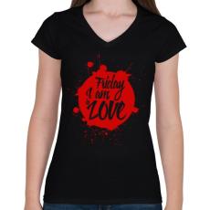 PRINTFASHION Péntek - Női V-nyakú póló - Fekete