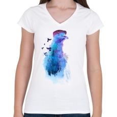 PRINTFASHION Pigeon of London - Női V-nyakú póló - Fehér
