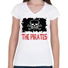 PRINTFASHION pirates - Női V-nyakú póló - Fehér