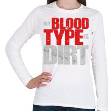 PRINTFASHION Piszkos Vércsoport - Női hosszú ujjú póló - Fehér