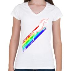 PRINTFASHION Pixel unicorn - Női V-nyakú póló - Fehér