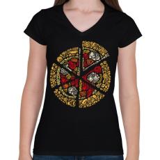 PRINTFASHION Pizza - Női V-nyakú póló - Fekete