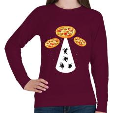 PRINTFASHION Pizza UFO - Női pulóver - Bordó