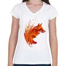 PRINTFASHION Plattensee fox - Női V-nyakú póló - Fehér