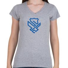 PRINTFASHION Police badge - Női V-nyakú póló - Sport szürke