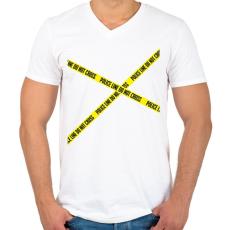 PRINTFASHION police-line - Férfi V-nyakú póló - Fehér