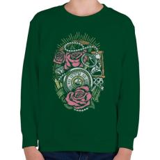 PRINTFASHION Pontos idő  - Gyerek pulóver - Sötétzöld