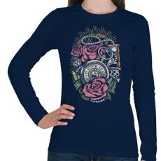PRINTFASHION Pontos idő  - Női hosszú ujjú póló - Sötétkék