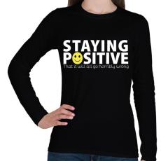 PRINTFASHION Pozitív - Női hosszú ujjú póló - Fekete