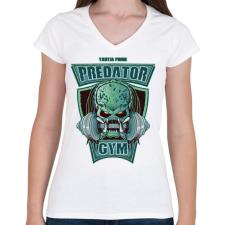 PRINTFASHION Predator Gym - Női V-nyakú póló - Fehér női póló