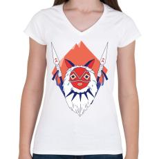 PRINTFASHION Princess Mononoke - Női V-nyakú póló - Fehér
