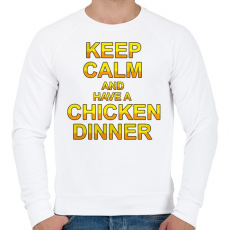 PRINTFASHION PUBG - Keep Calm and have a Chicken Dinner - Férfi pulóver - Fehér