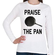 PRINTFASHION PUBG - Praise the Pan - Női hosszú ujjú póló - Fehér