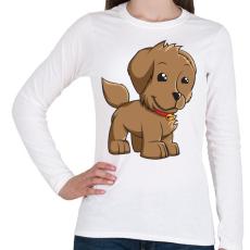 PRINTFASHION Puppy - Női hosszú ujjú póló - Fehér