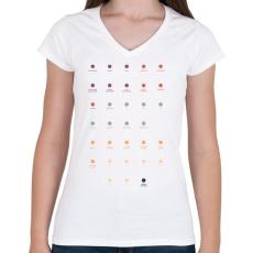 PRINTFASHION Quarks - Női V-nyakú póló - Fehér