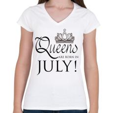 PRINTFASHION Queens - Női V-nyakú póló - Fehér
