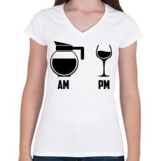 PRINTFASHION Reggel - Este fekete - Női V-nyakú póló - Fehér