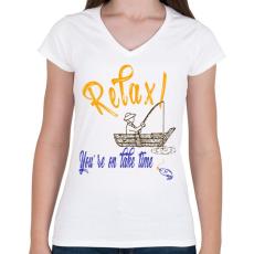PRINTFASHION RELAX - Női V-nyakú póló - Fehér