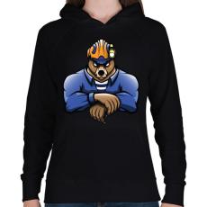 PRINTFASHION Rescue Bear - Női kapucnis pulóver - Fekete