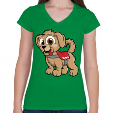 PRINTFASHION Rescue Puppy - Női V-nyakú póló - Zöld