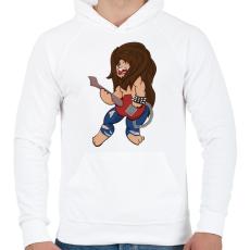 PRINTFASHION Rocker Oroszlán - Férfi kapucnis pulóver - Fehér