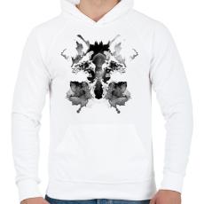 PRINTFASHION Rorschach - Férfi kapucnis pulóver - Fehér