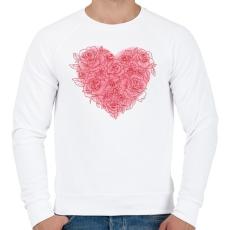 PRINTFASHION Rózsa szív - Férfi pulóver - Fehér