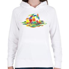 PRINTFASHION Rubik Kocka - Női kapucnis pulóver - Fehér