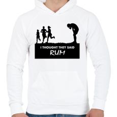 PRINTFASHION RUM! - Férfi kapucnis pulóver - Fehér