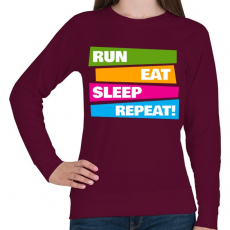 PRINTFASHION Run Eat Sleep Repeat! - Futás - Női pulóver - Bordó