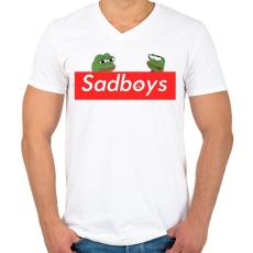 PRINTFASHION sadboyís - Férfi V-nyakú póló - Fehér