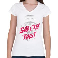 PRINTFASHION Safety first - Női V-nyakú póló - Fehér
