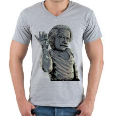 PRINTFASHION Salt Bae Einstein - Férfi V-nyakú póló - Sport szürke