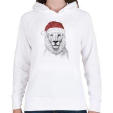PRINTFASHION Santa lion - Női kapucnis pulóver - Fehér