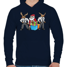 PRINTFASHION Santa Security - Férfi kapucnis pulóver - Sötétkék