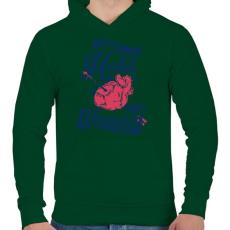 PRINTFASHION Sebesült szív - Férfi kapucnis pulóver - Sötétzöld