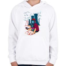 PRINTFASHION Segítség - Gyerek kapucnis pulóver - Fehér