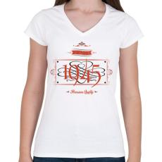 PRINTFASHION since-1945-red-black - Női V-nyakú póló - Fehér