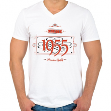 PRINTFASHION since-1955-red-black - Férfi V-nyakú póló - Fehér