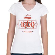 PRINTFASHION since-1969-red-black - Női V-nyakú póló - Fehér