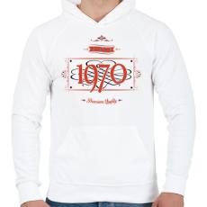PRINTFASHION since-1970-red-black - Férfi kapucnis pulóver - Fehér