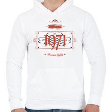 PRINTFASHION since-1971-red-black - Férfi kapucnis pulóver - Fehér