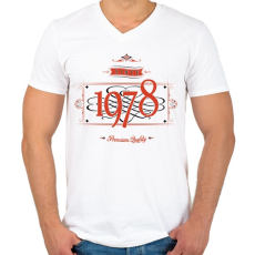 PRINTFASHION since-1978-red-black - Férfi V-nyakú póló - Fehér