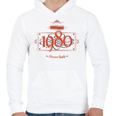 PRINTFASHION since-1980-red-black - Férfi kapucnis pulóver - Fehér
