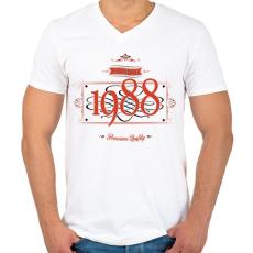 PRINTFASHION since-1988-red-black - Férfi V-nyakú póló - Fehér