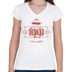 PRINTFASHION since-1991-red-black - Női V-nyakú póló - Fehér