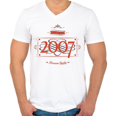 PRINTFASHION since-2007-red-black - Férfi V-nyakú póló - Fehér