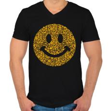 PRINTFASHION Smile - Férfi V-nyakú póló - Fekete